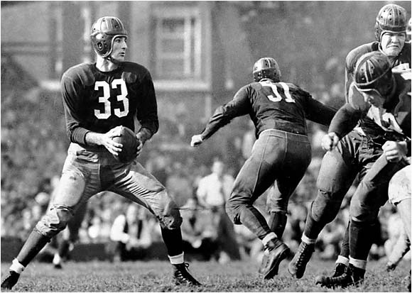 """Slingin' Sammy"" was the premier quarterback of his era (1937-1952) but wore what we now consider a running back number: 33."