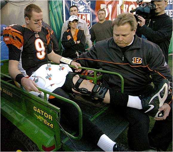 Although no one knew the full extent of the damage at the time, Palmer tore his left anterior cruciate ligament, shredded his medial collateral ligament, dislocated his kneecap and damaged cartilage and tissue in his knee. The Bengals lost 31-17.