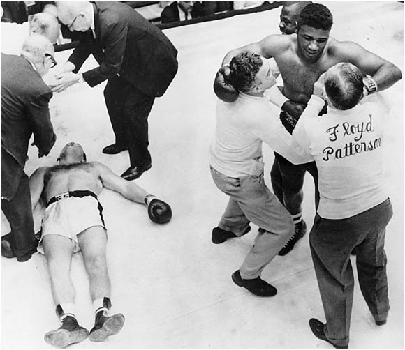 "In June 1959 Patterson had lost his title in shocking fashion to Ingemar Johannson. The Swedish heavyweight had unleashed what he called the ""Toonder"" of his right hand and knocked Patterson down seven times in three rounds. Humiliated, Patterson vowed revenge, driving himself in training and cultivating a ""hatred"" for Johansson. On June 20, 1960, fighting with focus and fury, Patterson became the first man to regain the heavyweight crown, shrugging off Johannson's right to score a devastating fifth-round knockout. Said Patterson, whose final left hook left Johansson twitching on the canvas, ""I never want to hate like that again."""