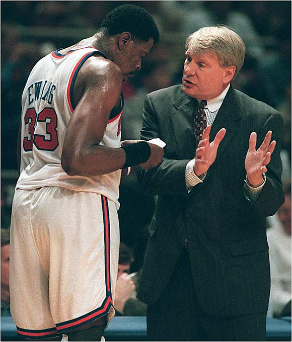 "Only 59 games into his tenure, Don Nelson was fired as coach of the Knicks in large part due to the dislike many of the team's stars -- Patrick Ewing, John Starks among them -- had for Nelson's strategies.  Starks: ""You don't take advantage of a player, try to make him look bad.... All of a sudden, you boost another player in front of him? If you want that to happen, be a man about it and say you want the situation to be this way.""   Ewing: ""I want to be on the floor as much as I can. That's what I told [Nelson]. I just want him to accommodate me so I can go out there and get the job done.... It's different not being on the court. It's hard to sit, period. I've communicated it to him. But that's between he and I.""   Nelson: ""I don't enjoy being crucified in the newspapers, but ... it was bound to happen. I was well aware that things like these happen here more than anywhere.... I feel more like a New Yorker now than I ever have. I've been kicked in the teeth, kicked in the ass, roughed up and I'm still standing. That's what it's all about, right? You gotta get tough."""