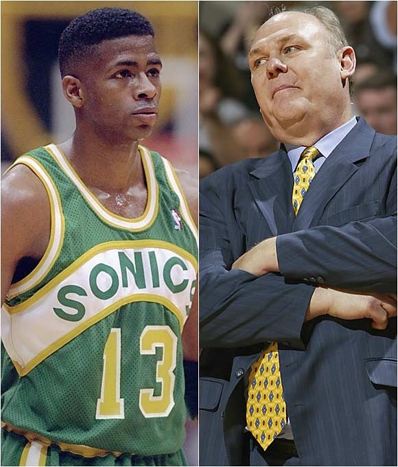 "The Sonics coach and player feuded largely over playing time and reached a flash point when Karl criticized Gill on a radio show, which still bothered the swingman after he left the team.   Karl (on the air): ""Kendall's not totally happy under the circumstances, and we understand that. We may not be totally happy with the money we're paying him.""   Gill: ""I wouldn't mind running into him in a dark alley somewhere, and then we'd see how much smack he's gonna talk. Normally, I wouldn't say anything about George, but I'm tired of holding my tongue. I would have done anything to get away from George Karl. I would have played in Baghdad.... Judgment Day will come, and he'll have to meet his maker. All of the characters he tried to destroy, he'll have to pay for."""