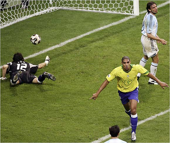 Perhaps the next great Brazilian center-forward, the Emperor was named the top player at the '05 Confederations Cup after leading Brazil to the title with a tournament-high five goals. Physically imposing, he could be a lethal partner for Ronaldo up top for Brazil.