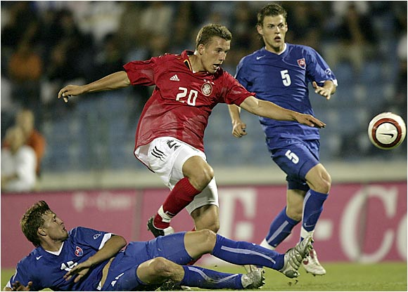 "The Polish-born forward, known as ""Prinz Poldi"" (center), emerged from FC Cologne's youth team late in '03 to become a force for both club and country, as well as the new face of Germany's rebuilding national team."