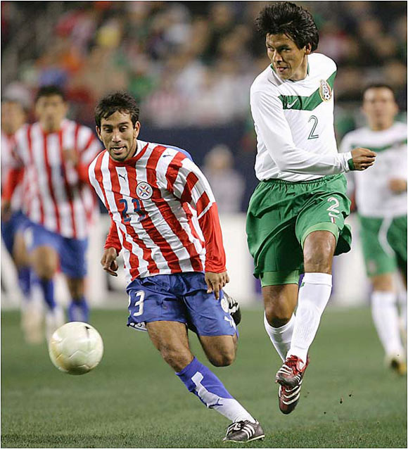 """El Emperador"" (right) was a surprise 11th-hour call-up by head coach Ricardo Lavolpe, who was impressed by Suárez's impeccable work ethic. Mexico's all-time leader in caps is getting his reward, even if it comes four years after the fact -- the defender was all but assured his third straight appearance in '02 but broke his leg in the months leading up to the Cup."
