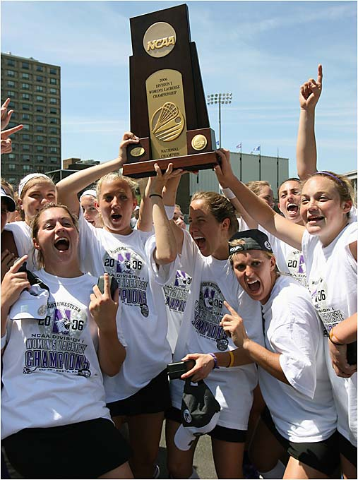 The Wildcats celebrated their second straight national title after defeating Dartmouth 7-4 at Boston University's Nickerson Field.