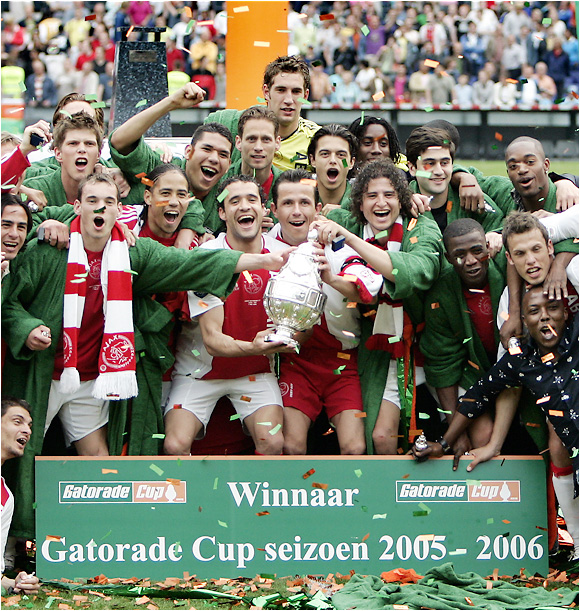Ajax Amsterdam celebrates its triumph over league champion PSV Eindhoven in the Dutch Cup. Ajax finished fourth in the Eredivisie, far behind PSV, but qualified for next season's Champions League by winning Holland's new playoff system.