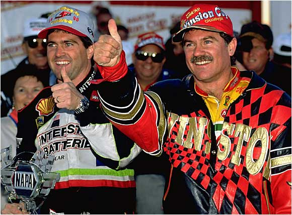 Terry and Bobby Labonte are the only brothers to both win Nextel Cup titles. Terry has two Cup titles, while Bobby is the only driver to win both Busch and Cup titles. Bobby won another Busch title as a car owner. (Pictured from left: Bobby and Terry Labonte.)