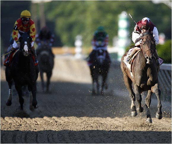Bernardini (right), who took a major step up in class in just his fourth career start, came into the Preakness off an impressive win in the Withers Stakes at Aqueduct on April 29.