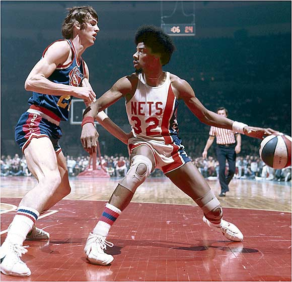 When his Afro was big and his dunks even bigger, the good doctor donned number 32 with the ABA's Nets.