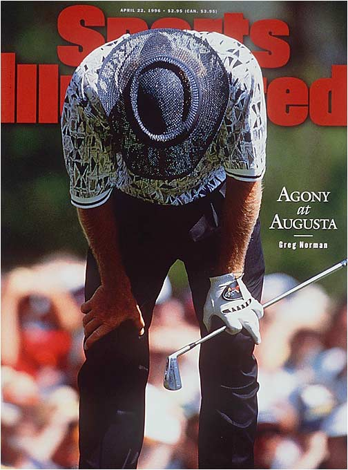 """The world's top-ranked golfer owned a six-shot lead going into the final day at Augusta. But in a round that would unfortunately define his career, the Shark carded five bogeys and two double bogeys for a six-over 78, with Nick Faldo shooting 67 to win by five shots. """"I made a lot of mistakes today,"""" Norman said in his mea culpa afterward. """"I put all the blame on myself. You pay the price. That's all there is to it."""""""