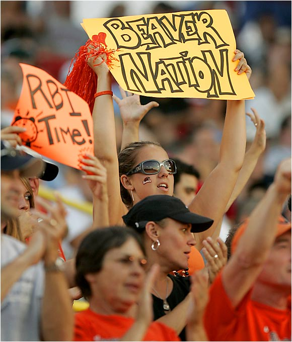 Oregon State fans make their presence known in Omaha.