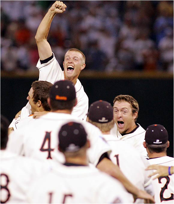 Oregon State celebrates the school's first-ever College World Series championship, which it won Monday night with a 3-2 victory over North Carolina.