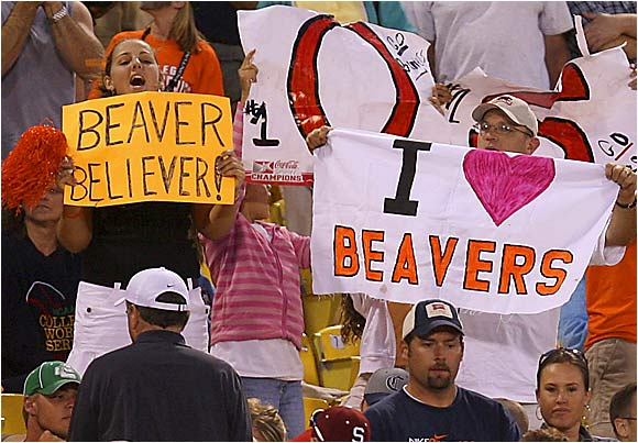 There was no question which team these fans were supporting at Rosenblatt Stadium.