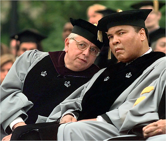 School trustee David Stern talked with Muhammad Ali at the Columbia University graduation at which Ali received an honorary degree, in 1999.