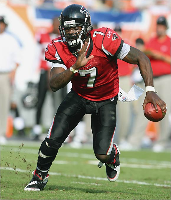 The most unique quarterback to come into the NFL in a long time, Vick is as skilled with the ball in the open field as any running back and has a stronger arm than any other quarterback. Although his passes aren't always accurate, there's nothing more breathtaking than watching the Falcons QB evade a rush and throw the ball 70 yards downfield with just a flick of the wrist.