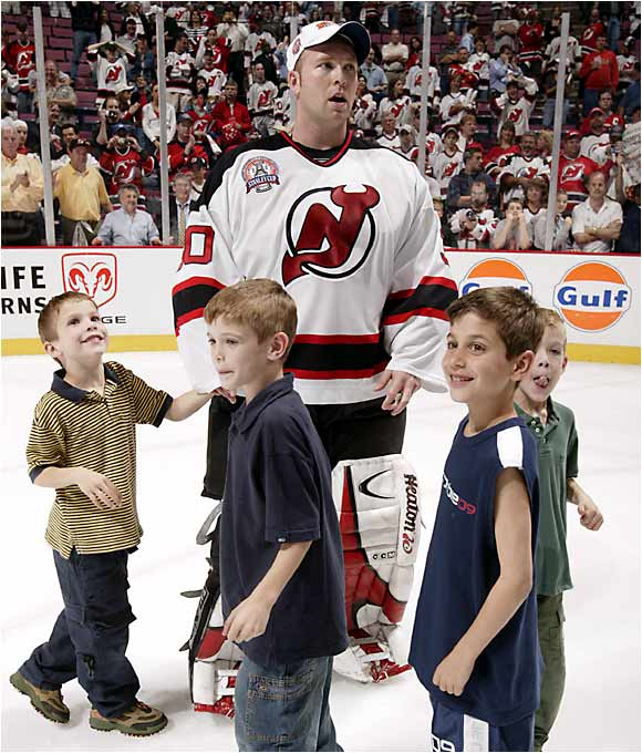 Martin Brodeur's four sons joined him on the ice after the Devils won Game 7 of the 2003 Stanley Cup.