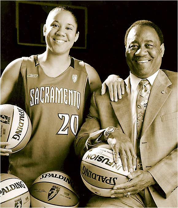 "Sacramento Monarchs guard Kara Lawson poses with her father, William. When asked what personality traits she inherited from her dad, Kara told SI: ""I'm not as stubborn as he is, but I am stubborn. I like to be the best at whatever I do."""