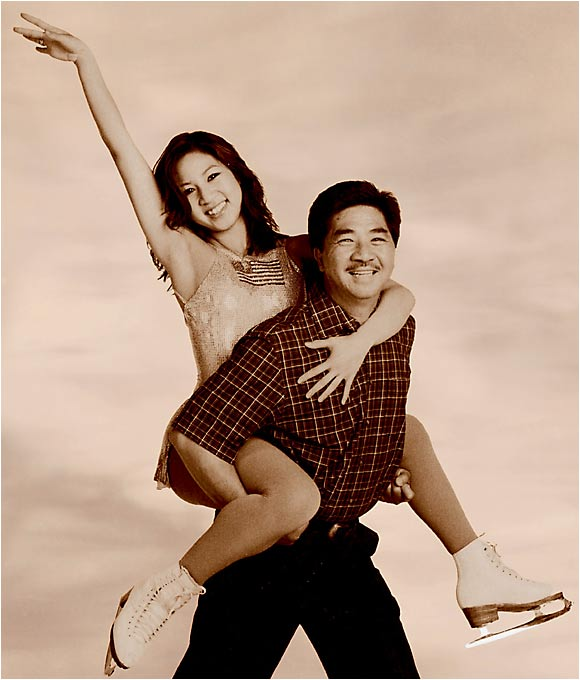 "Michelle Kwan takes a skate with her father, Danny, during a June 2003 SI photo shoot. Danny, who emigrated from China in 1971, joked to SI about the family having so little money that they once went to Sizzler for a Father's Day dinner. ""It was a nice dinner but not really a nice restaurant."""