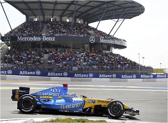 Fernando Alonso, at the wheel of his Renault, captured the pole position for the European Grand Prix during this qualifying run at Nuerburgring on May 6. The following day, he finished second, 3.7 seconds behind local hero Michael Schumacher.