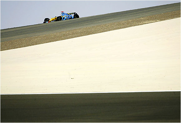 Fernando Alonso's Renault streaks along the course at the Bahrain Grand Prix in Sakhir on March 12, en route to his first victory of the season. Last year, Alonso, 24, became Formula One's youngest world champion. He's well on his way to a repeat.