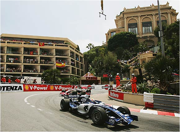 Mark Webber cruises through Monte Carlo in his Williams-Cosworth during the Monaco Grand Prix on May 28. Unfortunately for the Australian driver, exhaust problems ended his day after 46 laps.