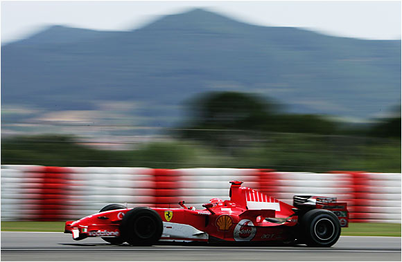 Michael Schumacher finished second to Fernando Alonso in the Spanish Grand Prix in Barcelona on May 14. This race launched a four-race win streak for Spain's Alonso, who took an almost insurmountable 23-point lead in the standings on the seven-time champ.