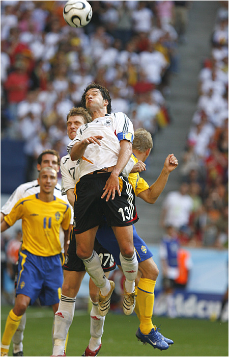 MIchael Ballack had nine shots and four shots on goal to lead the German attack.