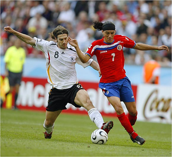 Torsten Frings (left) scored Germany's fourth and final goal, but the tone for Germany's victory was set six minutes into the match, when Philip Lahm fired a laser from the left penalty area, which struck the upright and bounced into the net.