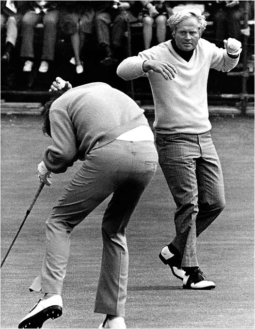 "All Sanders needed to do was make a 30-inch putt and the Claret Jug was his. Instead, he missed it, resulting in a playoff with Jack Nicklaus. When Nicklaus sealed the victory, he tossed his putter in the air, nearly spearing Sanders (see photo). About the missed putt and the stain on his career, Sanders lamented to Golf Digest magazine, ""It's all anybody wants to talk about."""