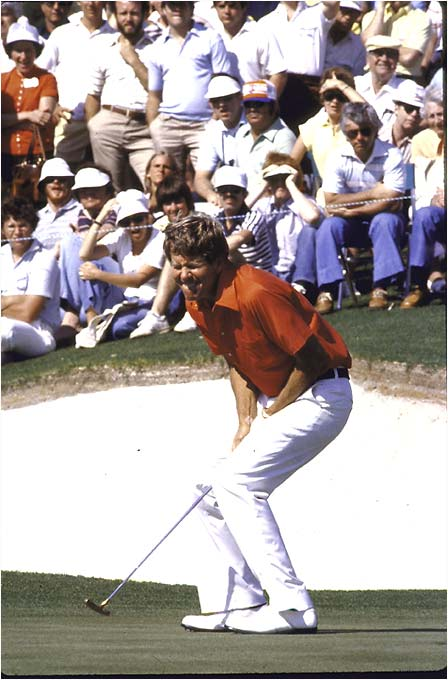"Three-shot lead. Three holes to play. All Sneed had to do was hang on. Instead he finished bogey-bogey-bogey, forcing a playoff with Tom Watson and Fuzzy Zoeller (with Fuzzy winning). Said Sneed about blowing the big lead: ""I don't feel like I ever lost my composure."" Maybe not, but he did lose the tournament."
