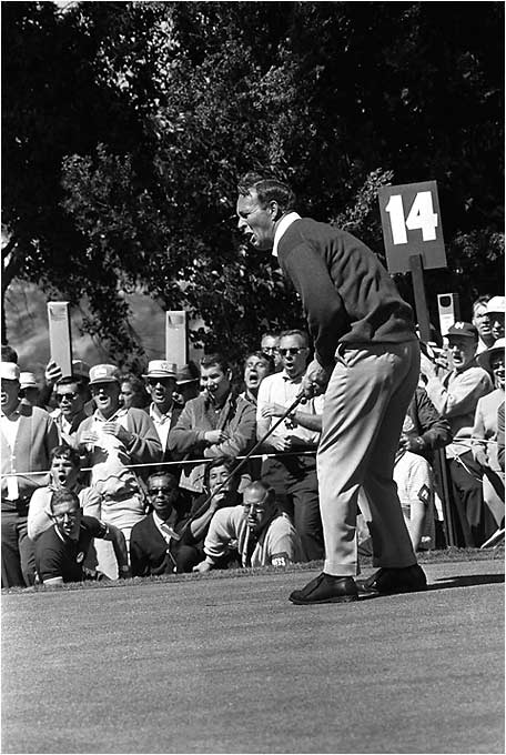 Palmer had a seven-shot lead going to the back nine at Olympic Club. But in his chase of the Open scoring record he started snap-hooking tee shots. Unbelievably, the King of Golf wound up losing the Open to Billy Casper. Arnie never won another major.
