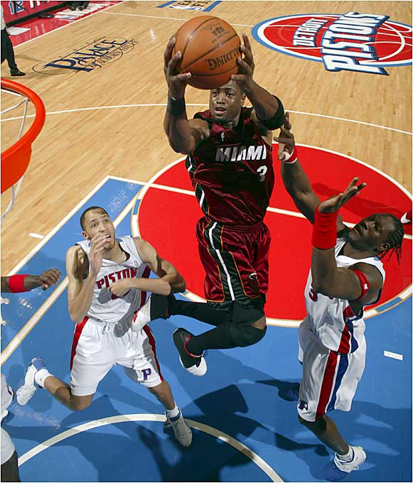 After floundering for the early part of the `90s, Miami drafted guard Dwyane Wade with the fifth overall pick in the 2003 draft, and things immediately turned around. Sparked by Wade and newly acquired Lamar Odom, the Heat defeated New Orleans in the first round of the playoffs before being eliminated by Indiana in the Eastern Conference semifinals. Despite the loss, Wade's sensational rookie season (16 points per game, four rebounds, four assists) had Miami fans excited about the Heat again.