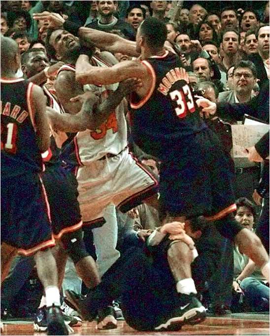 In the late '90s, the Heat and the Knicks engaged in the NBA's fiercest rivalry, meeting in the playoffs four times in four straight years. The highlight of the rivalry was a fight in the '98 playoffs between ex-Charlotte teammates Alonzo Mourning and Larry Johnson, which will forever be remembered for Knicks coach Jeff Van Gundy clinging to Mourning's leg.