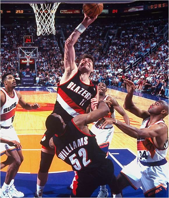 Originally drafted by the Hawks in 1985, Sabonis' selection was nullified due to his being under 21 at the time of the draft. Portland took a flier on one of the most decorated players in international basketball history in 1986 but didn't get to outfit him with a uniform until the 1995-96 season. By the time he retired in 2003, the 38-year-old Sabonis had cobbled together averages of 12 points, 7.3 rebounds, 2.1 assists and 1.1 blocks, in 24 minutes per game.