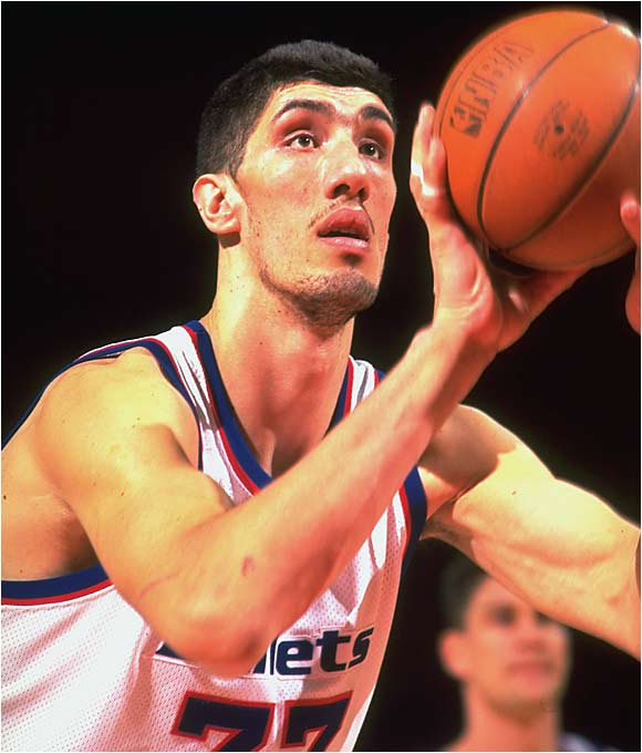 A giant with skills, the tallest player in NBA history was far from a novelty. The 7-foot-7 Muresan was Washington's anchor in the middle in the mid-1990s, winning the Most Improved Player trophy in '96. He teamed with Chris Webber, Juwan Howard and Rod Strickland in '96-97 to help Washington secure its first playoff appearance in nearly a decade. Ankle injuries kept Muresan from playing the following season, and back injuries limited him to only 31 more contests before he retired in 2000.