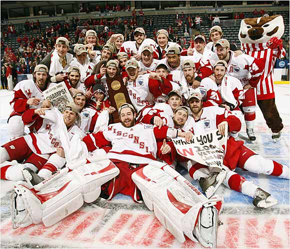 Wisconsin withstood a late flurry by Boston College, including a shot that dinked off the goalpost in the final seconds, and defeated the Eagles 2-1 to win their sixth national championship, and first since 1990.