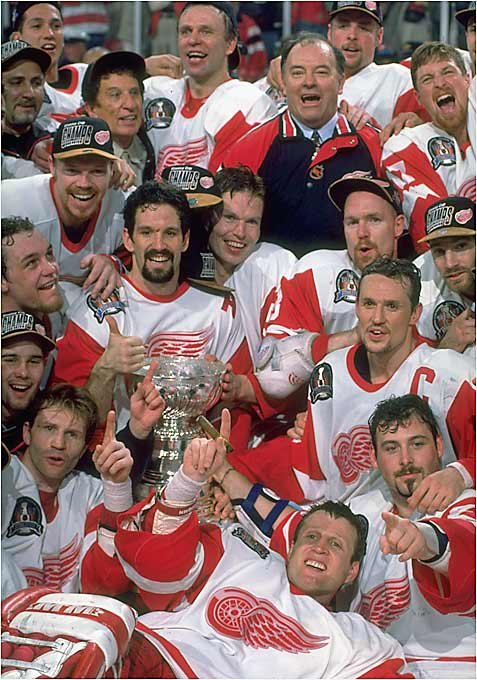 Coach Scotty Bowman and the offseason addition of Brendan Shanahan helped bring Lord Stanley to Detroit for the first time since 1955. Goaltender Mike Vernon earned the Conn Smythe as the Wings dominated Eric Lindros and the Flyers. Detroit's jubilation was tempered when defenseman Vladimir Konstantinov was gravely injured in a car crash six days after the Cup-clinching victory.