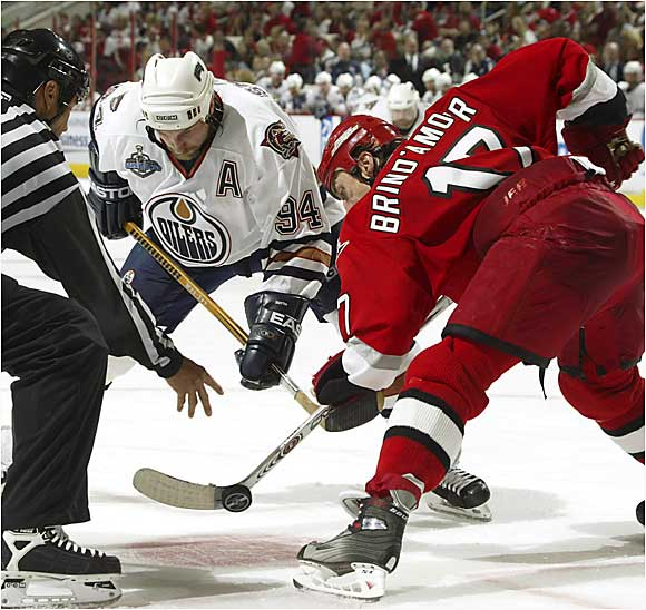 Rod Brind'Amour's success at winning face-offs attracted an accusation of cheating from Shawn Horcoff of the Oilers.