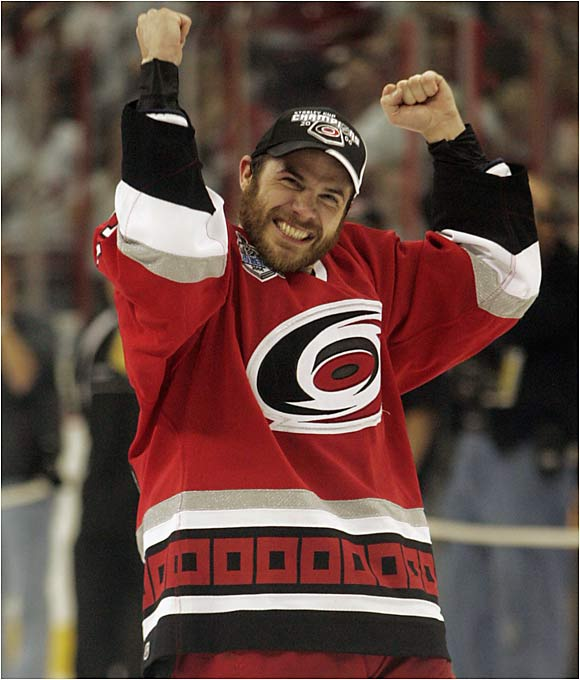Winger Ray Whitney, nicknamed the Wizard, celebrates that magical Stanley Cup feeling for the first time in his 16-year career. Whitney's two goals in the third period of Game 1 ignited Carolina's dramatic 5-4 comeback win.