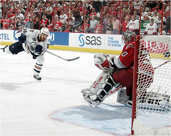 After intercepting Cory Stillman's errant cross-ice pass, Fernando Pisani broke in alone on Cam Ward and scored the first short-handed overtime goal in Stanley Cup finals history. The stunning goal, Pisani's 12th of the postseason, spoiled Carolina's party and sent the series back to Edmonton.