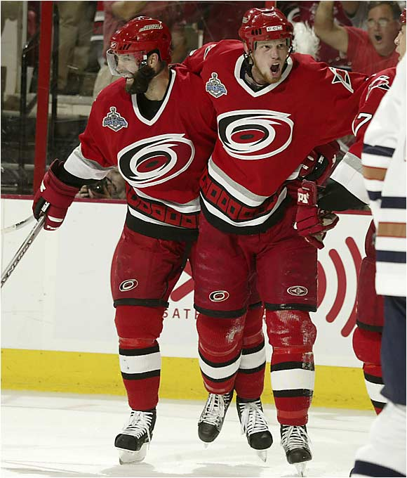 Oddly quiet in the finals, Eric Staal broke through with his first two goals of the series. His first came a 5:54 of the first period, tying the game at 1. Staal assisted on Ray Whitney's score at 10:15 and struck again for his second tally of the game, in the second period.