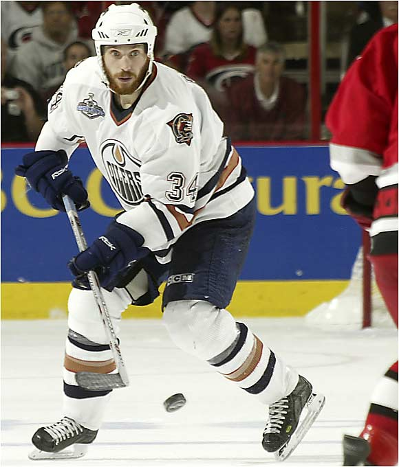 Oilers winger Fernando Pisani has been a huge surprise in the postseason, and never more so than after Edmonton's Steve Staios was whistled for dragging Carolina's Mark Recchi down at 3:03 of OT.