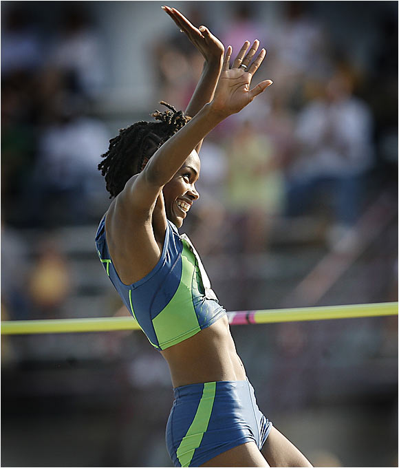 Chanute Howard won a high jump field that included Amy Acuff by clearing 6-7.