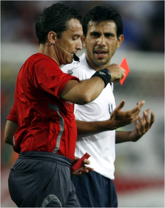 Pablo Mastroeni would earn a red card of his own just before halftime.