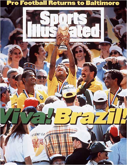 Behind the leadership and scoring touch of Romario (holding trophy), Brazil hoisted its fourth title after a thrilling shootout victory over Italy in the final at the Rose Bowl.