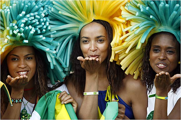 The ebullient Brazilians fans came by the thousands to support their team, heavy favorites to win the tournament in Germany.