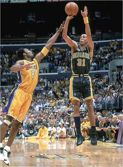 Though the Pacers made five ABA Finals, winning three, it took until their 24th NBA season for them to make it to the final round. It was a charmed year for Larry Bird's team; they spent the season relatively injury-free and took on a different look once Bird placed Jalen Rose in the starting lineup. After taking down the Bucks, the 76ers and the Knicks to reach the Finals, Indiana lost in six games to the Lakers.
