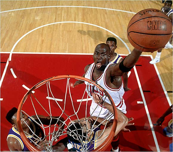 Michael Jordan's first Finals appearance was a long time coming. His Chicago Bulls lost three straight first-round series from 1984 to '86, followed by a conference semifinals loss and back-to-back conference finals setbacks in 1989 and '90. Though Phil Jackson's team owned the home court advantage over the Lakers in the '91 playoffs, Magic Johnson's veteran group was the favorite. After the Lakers stole Game 1 in Chicago (with Jordan missing a shot in the game's final seconds), His Airness responded with a 15-of-18 shooting night in Game 2, and the Bulls took all three games in Los Angeles for their first title.