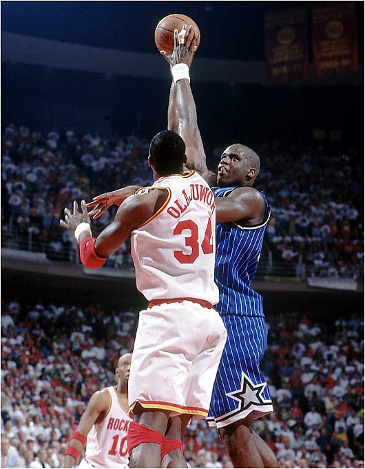 This was supposed to be the first of many NBA Finals for the young Orlando Magic, who boasted the game's best pair of 23-year-olds (Shaquille O'Neal and Anfernee Hardaway). Their inexperience showed in the Finals, where they were swept by the sixth-seeded Houston Rockets. Fourteen months later, Shaq was off to L.A.