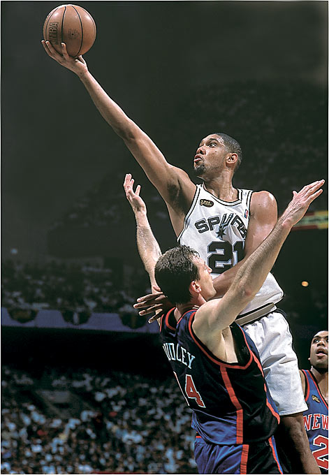The Spurs were the class of a nasty season dominated by labor strife and out-of-shape players. San Antonio dominating both the regular season and the playoffs with a high-low pivot attack that featured David Robinson and Tim Duncan. Duncan blossomed in his second season into a devastating low-post threat, while Robinson overcame his own diminishing offensive skills by developing into a defensive-minded role player. Point guard (and current Dallas coach) Avery Johnson hit the game-winning jumper in Game 5 of the Finals against the Knicks.